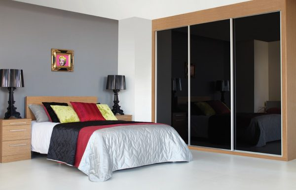 1 Panel Sliding Wardrobe - Black