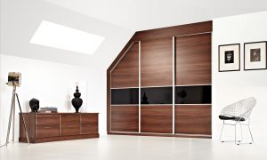 3 Panel Elegance - Walnut & Noir Glass