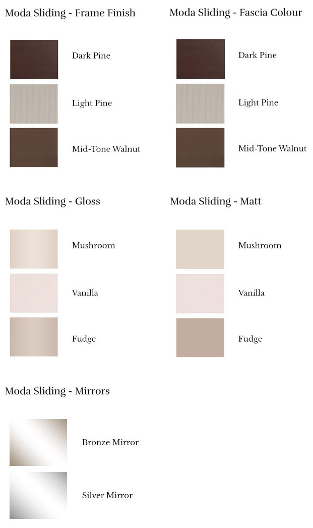 Moda Sliding Wardrobe - Door Finishes