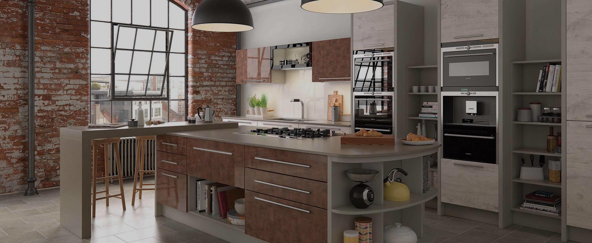 Cucina Colore Lastra Fitted Kitchen